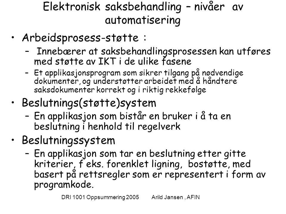 DRI 1001 Oppsummering 2005 Arild Jansen, AFIN Elektronisk saksbehandling – nivåer av automatisering Arbeidsprosess-støtte : – Innebærer at saksbehandlingsprosessen kan utføres med støtte av IKT i de ulike fasene –Et applikasjonsprogram som sikrer tilgang på nødvendige dokumenter, og understøtter arbeidet med å håndtere saksdokumenter korrekt og i riktig rekkefølge Beslutnings(støtte)system –En applikasjon som bistår en bruker i å ta en beslutning i henhold til regelverk Beslutningssystem –En applikasjon som tar en beslutning etter gitte kriterier, f eks.