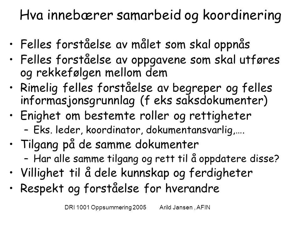 DRI 1001 Oppsummering 2005 Arild Jansen, AFIN Hva innebærer samarbeid og koordinering Felles forståelse av målet som skal oppnås Felles forståelse av oppgavene som skal utføres og rekkefølgen mellom dem Rimelig felles forståelse av begreper og felles informasjonsgrunnlag (f eks saksdokumenter) Enighet om bestemte roller og rettigheter –Eks.