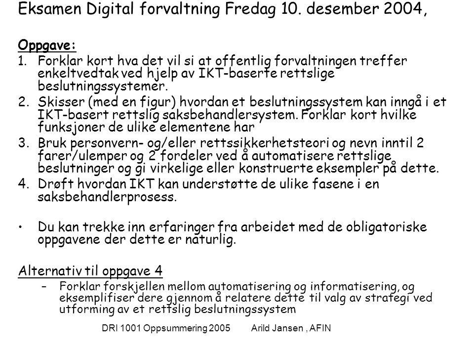 DRI 1001 Oppsummering 2005 Arild Jansen, AFIN Datasystemer og informasjonssystemer Et datasystem kan defineres som [Ande89]: Et system for innsamling, bearbeiding, lagring, overføring og presentasjon av alle former for data .