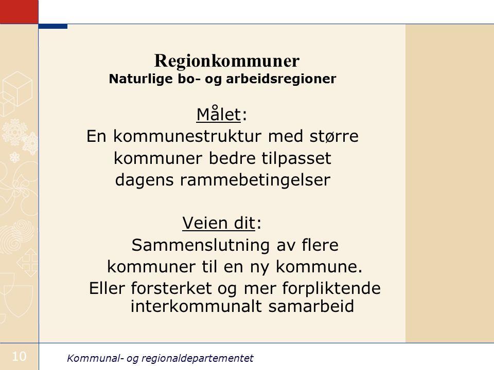 Kommunal- og regionaldepartementet 10 Regionkommuner Naturlige bo- og arbeidsregioner Målet: En kommunestruktur med større kommuner bedre tilpasset dagens rammebetingelser Veien dit: Sammenslutning av flere kommuner til en ny kommune.