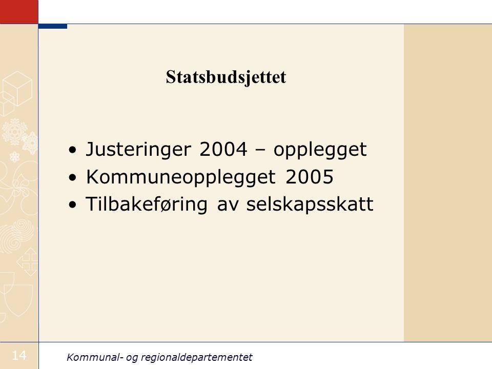 Kommunal- og regionaldepartementet 14 Statsbudsjettet Justeringer 2004 – opplegget Kommuneopplegget 2005 Tilbakeføring av selskapsskatt