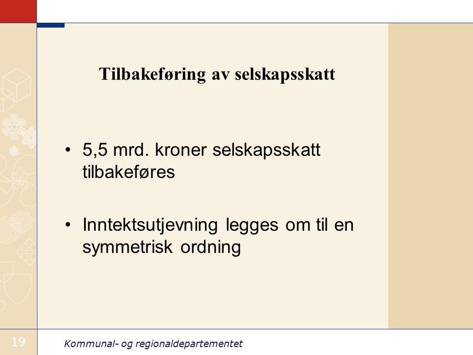 Kommunal- og regionaldepartementet 19 Tilbakeføring av selskapsskatt 5,5 mrd.