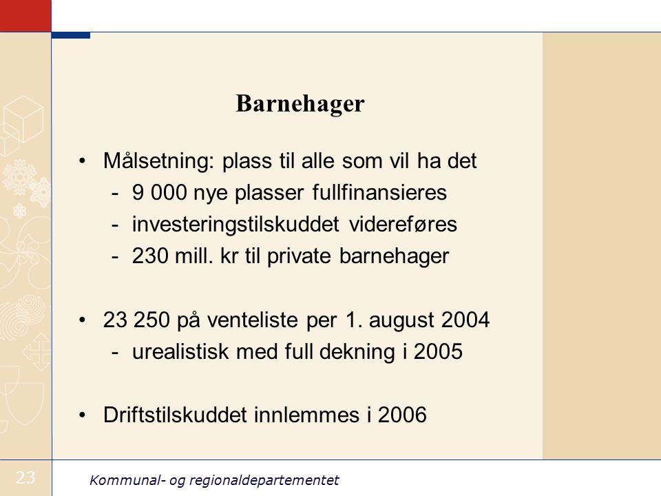 Kommunal- og regionaldepartementet 23 Barnehager Målsetning: plass til alle som vil ha det -9 000 nye plasser fullfinansieres -investeringstilskuddet videreføres -230 mill.