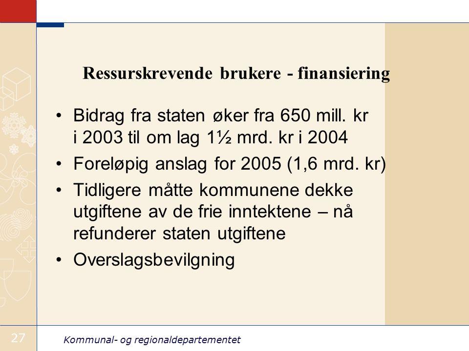Kommunal- og regionaldepartementet 27 Ressurskrevende brukere - finansiering Bidrag fra staten øker fra 650 mill.