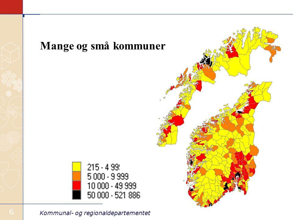 Kommunal- og regionaldepartementet 6 Mange og små kommuner