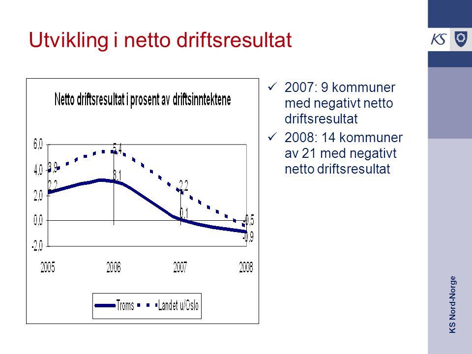 KS Nord-Norge Utvikling i netto driftsresultat 2007: 9 kommuner med negativt netto driftsresultat 2008: 14 kommuner av 21 med negativt netto driftsres