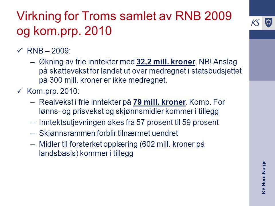 KS Nord-Norge Virkning for Troms samlet av RNB 2009 og kom.prp. 2010 RNB – 2009: –Økning av frie inntekter med 32,2 mill. kroner. NB! Anslag på skatte