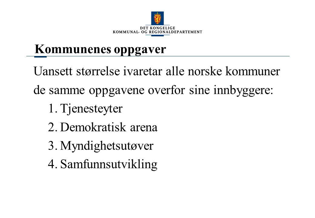 Kommunenes oppgaver Uansett størrelse ivaretar alle norske kommuner de samme oppgavene overfor sine innbyggere: 1.Tjenesteyter 2.Demokratisk arena 3.M