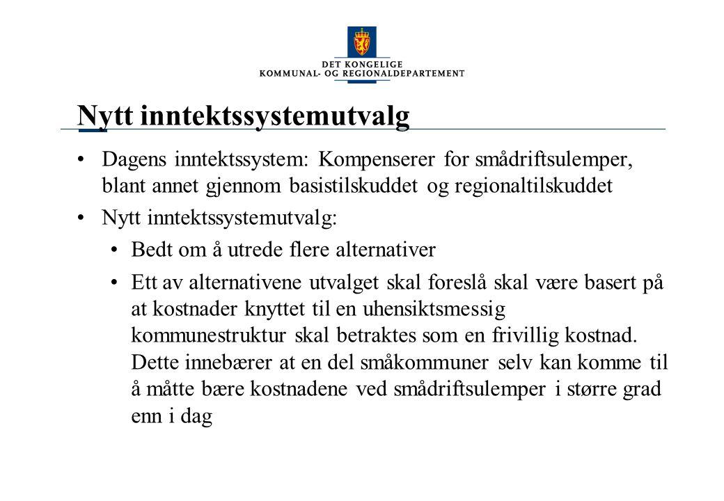 Nytt inntektssystemutvalg Dagens inntektssystem: Kompenserer for smådriftsulemper, blant annet gjennom basistilskuddet og regionaltilskuddet Nytt innt