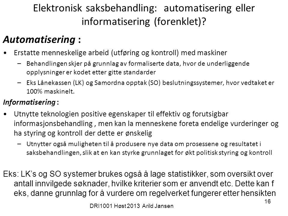 16 Elektronisk saksbehandling: automatisering eller informatisering (forenklet).