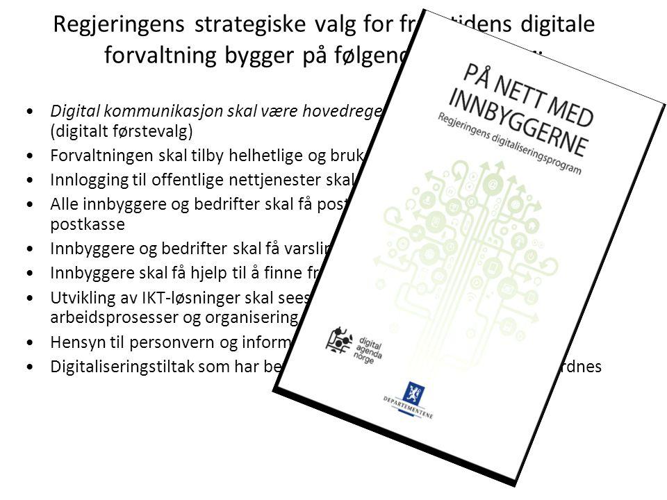 Regjeringens strategiske valg for framtidens digitale forvaltning bygger på følgende prinsipper: Digital kommunikasjon skal være hovedregelen for kont
