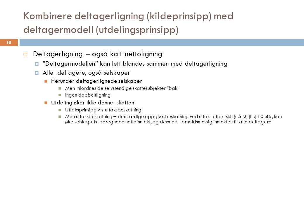 "Kombinere deltagerligning (kildeprinsipp) med deltagermodell (utdelingsprinsipp)  Deltagerligning – også kalt nettoligning  ""Deltagermodellen"" kan l"