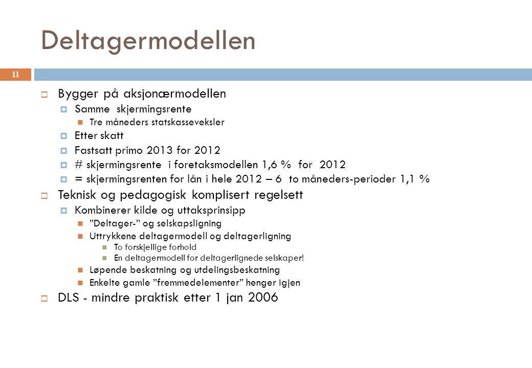 Deltagermodellen  Bygger på aksjonærmodellen  Samme skjermingsrente Tre måneders statskasseveksler  Etter skatt  Fastsatt primo 2013 for 2012  #