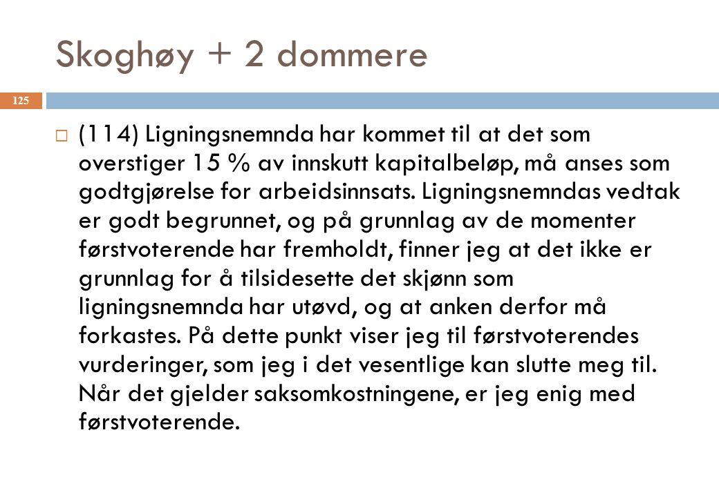 Skoghøy + 2 dommere  (114) Ligningsnemnda har kommet til at det som overstiger 15 % av innskutt kapitalbeløp, må anses som godtgjørelse for arbeidsin