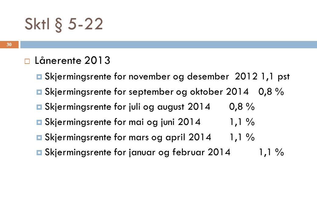 Sktl § 5-22  Lånerente 2013  Skjermingsrente for november og desember 2012 1,1 pst  Skjermingsrente for september og oktober 20140,8 %  Skjermings