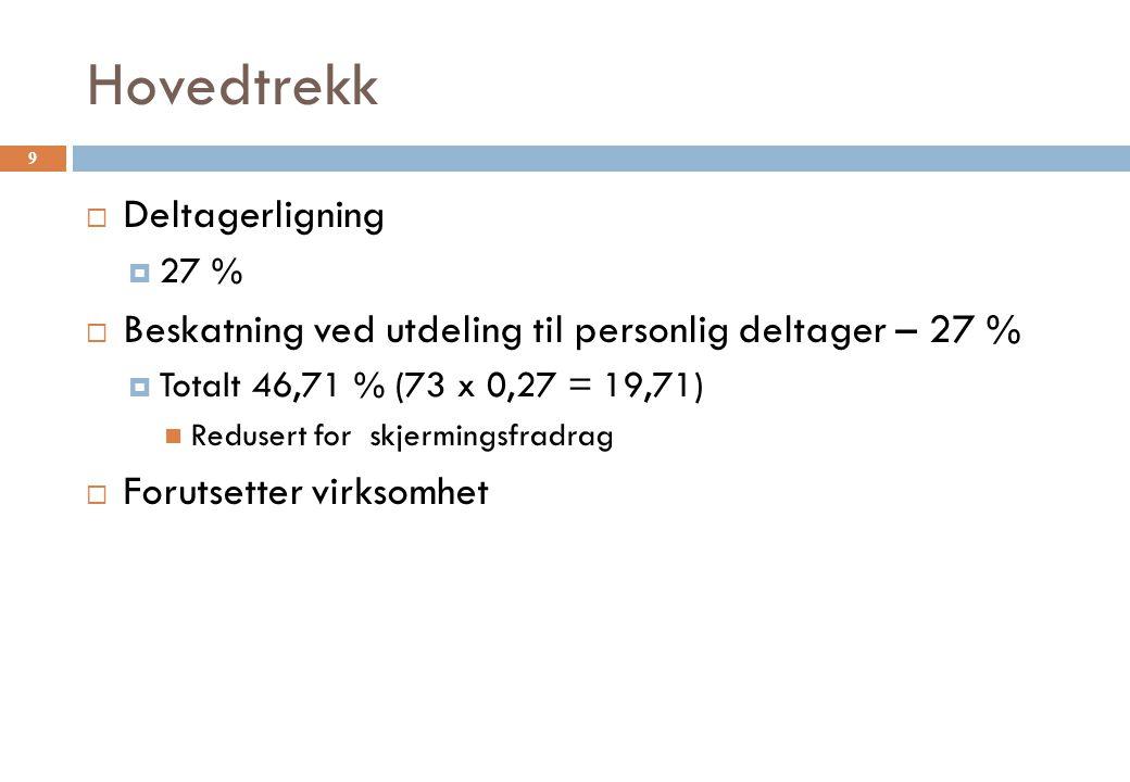 Hovedtrekk  Deltagerligning  27 %  Beskatning ved utdeling til personlig deltager – 27 %  Totalt 46,71 % (73 x 0,27 = 19,71) Redusert for skjermin