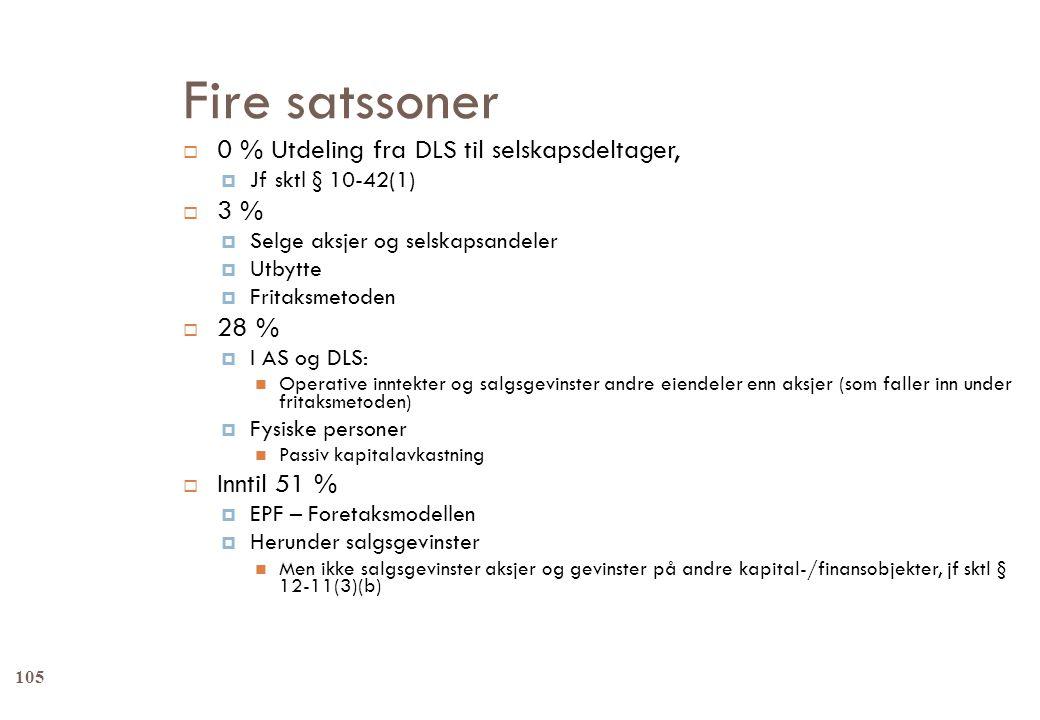 Fire satssoner  0 % Utdeling fra DLS til selskapsdeltager,  Jf sktl § 10-42(1)  3 %  Selge aksjer og selskapsandeler  Utbytte  Fritaksmetoden 