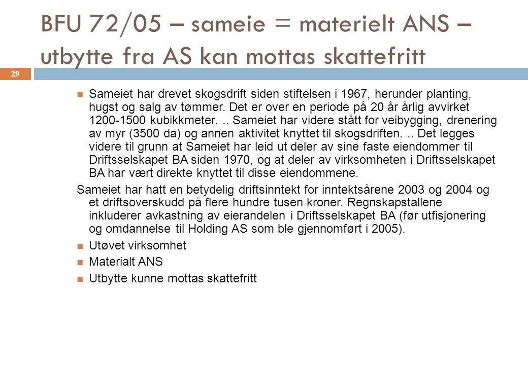 BFU 72/05 – sameie = materielt ANS – utbytte fra AS kan mottas skattefritt Sameiet har drevet skogsdrift siden stiftelsen i 1967, herunder planting, h