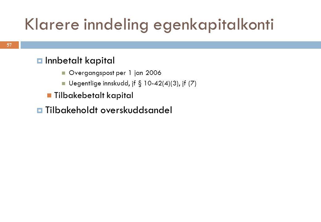Klarere inndeling egenkapitalkonti  Innbetalt kapital Overgangspost per 1 jan 2006 Uegentlige innskudd, jf § 10-42(4)(3), jf (7) Tilbakebetalt kapita