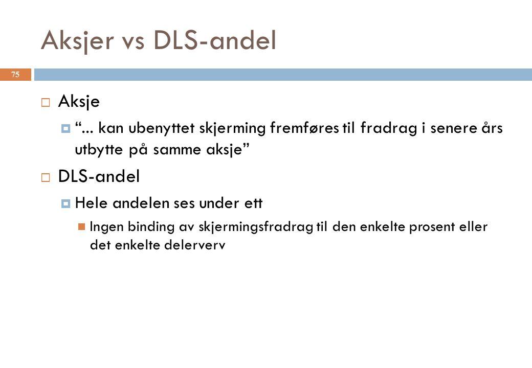 """Aksjer vs DLS-andel  Aksje  """"... kan ubenyttet skjerming fremføres til fradrag i senere års utbytte på samme aksje""""  DLS-andel  Hele andelen ses u"""