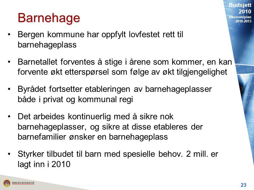 Budsjett 2010 Økonomiplan 2010-2013 23 Barnehage Bergen kommune har oppfylt lovfestet rett til barnehageplass Barnetallet forventes å stige i årene som kommer, en kan forvente økt etterspørsel som følge av økt tilgjengelighet Byrådet fortsetter etableringen av barnehageplasser både i privat og kommunal regi Det arbeides kontinuerlig med å sikre nok barnehageplasser, og sikre at disse etableres der barnefamilier ønsker en barnehageplass Styrker tilbudet til barn med spesielle behov.