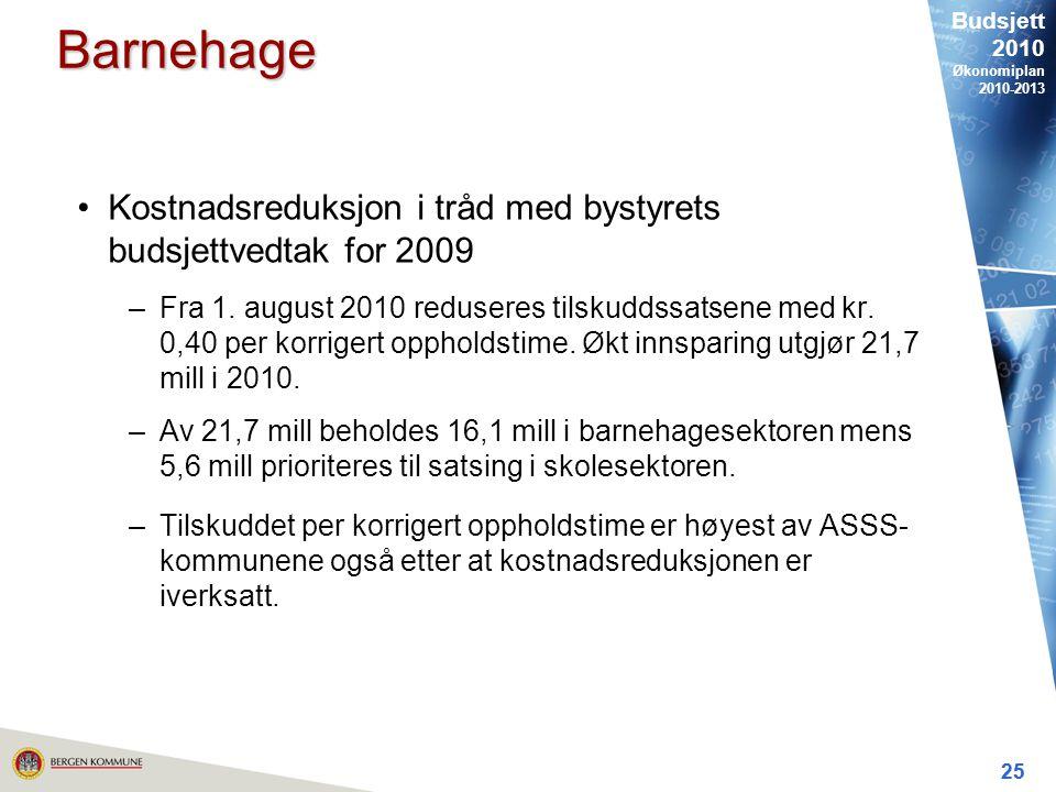Budsjett 2010 Økonomiplan 2010-2013 25 Barnehage Kostnadsreduksjon i tråd med bystyrets budsjettvedtak for 2009 –Fra 1.