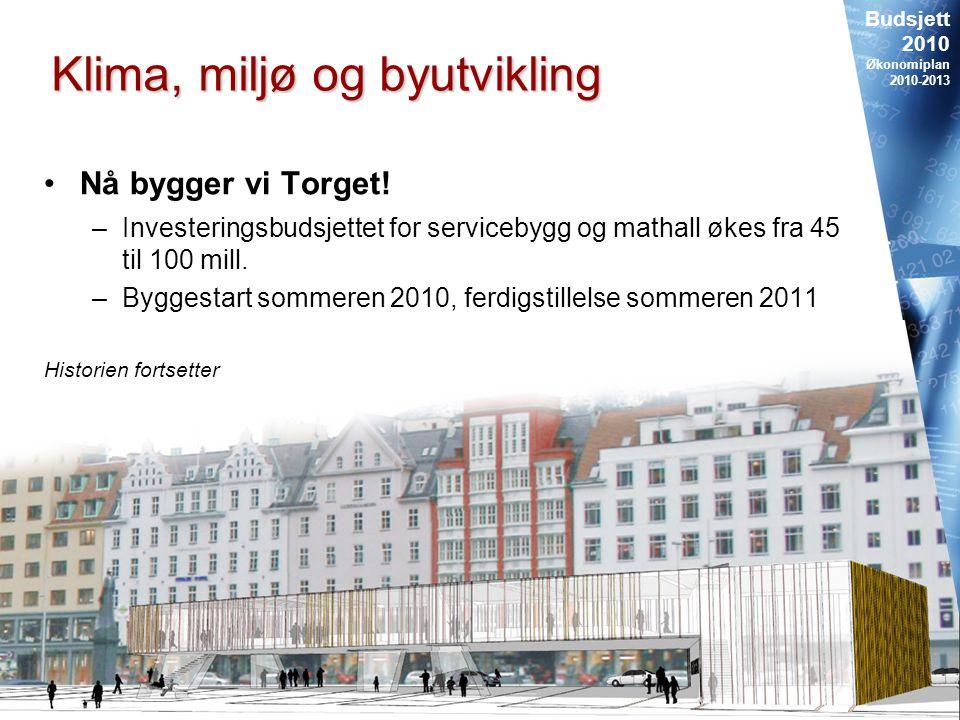 Budsjett 2010 Økonomiplan 2010-2013 29 Klima, miljø og byutvikling Nå bygger vi Torget.