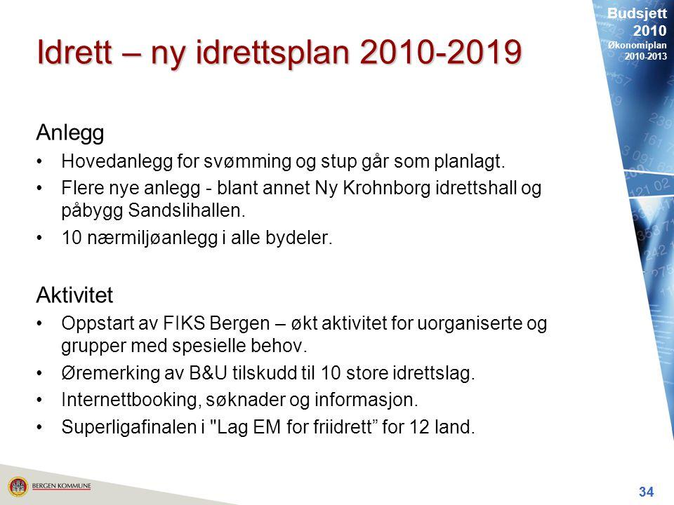 Budsjett 2010 Økonomiplan 2010-2013 34 Idrett – ny idrettsplan 2010-2019 Anlegg Hovedanlegg for svømming og stup går som planlagt.