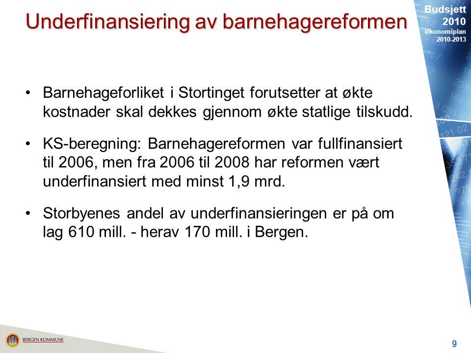 Budsjett 2010 Økonomiplan 2010-2013 9 Underfinansiering av barnehagereformen Barnehageforliket i Stortinget forutsetter at økte kostnader skal dekkes gjennom økte statlige tilskudd.