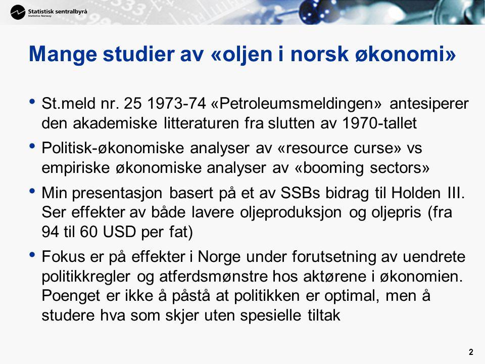 Mange studier av «oljen i norsk økonomi» St.meld nr. 25 1973-74 «Petroleumsmeldingen» antesiperer den akademiske litteraturen fra slutten av 1970-tall