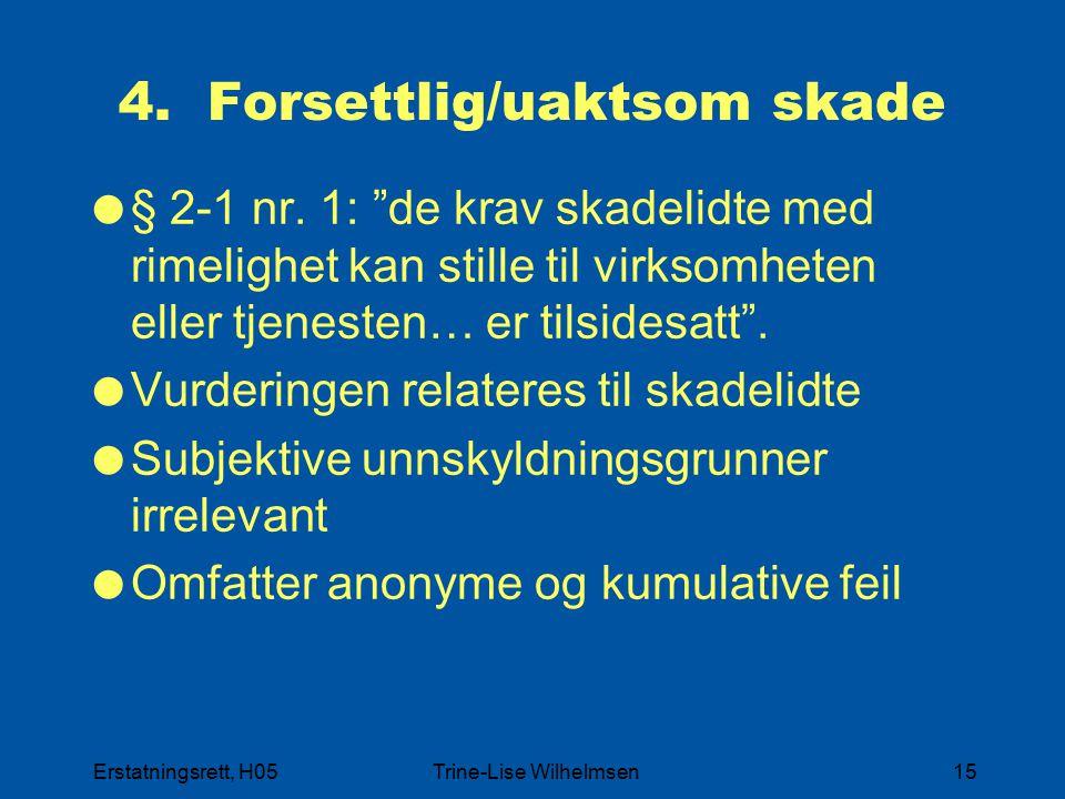 """Erstatningsrett, H05Trine-Lise Wilhelmsen15 4. Forsettlig/uaktsom skade  § 2-1 nr. 1: """"de krav skadelidte med rimelighet kan stille til virksomheten"""