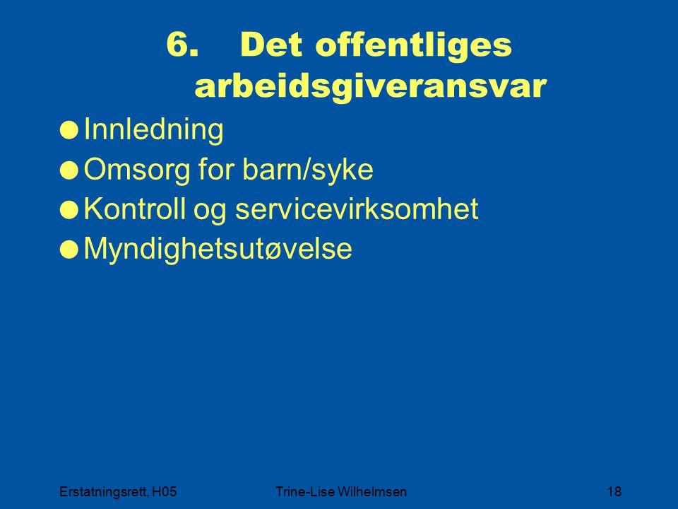 Erstatningsrett, H05Trine-Lise Wilhelmsen18 6. Det offentliges arbeidsgiveransvar  Innledning  Omsorg for barn/syke  Kontroll og servicevirksomhet