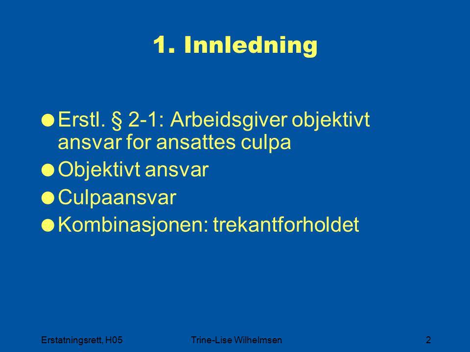 Erstatningsrett, H05Trine-Lise Wilhelmsen2 1. Innledning  Erstl. § 2-1: Arbeidsgiver objektivt ansvar for ansattes culpa  Objektivt ansvar  Culpaan