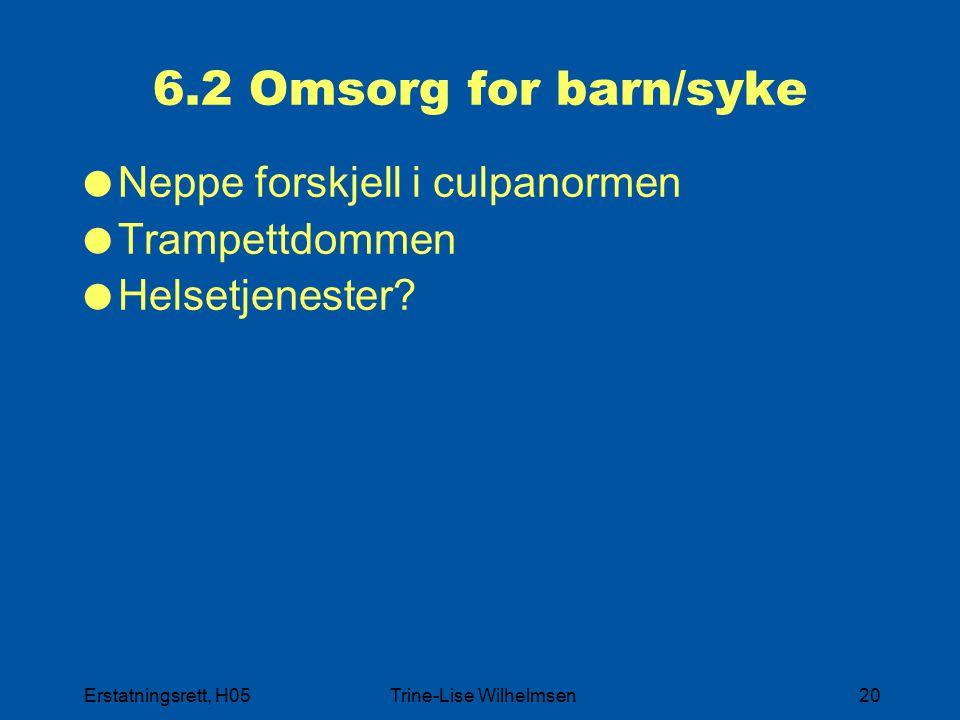 Erstatningsrett, H05Trine-Lise Wilhelmsen20 6.2 Omsorg for barn/syke  Neppe forskjell i culpanormen  Trampettdommen  Helsetjenester?