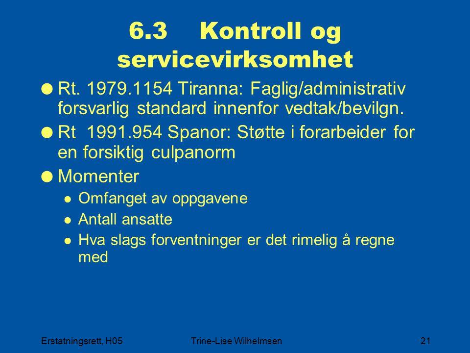 Erstatningsrett, H05Trine-Lise Wilhelmsen21 6.3 Kontroll og servicevirksomhet  Rt. 1979.1154 Tiranna: Faglig/administrativ forsvarlig standard innenf
