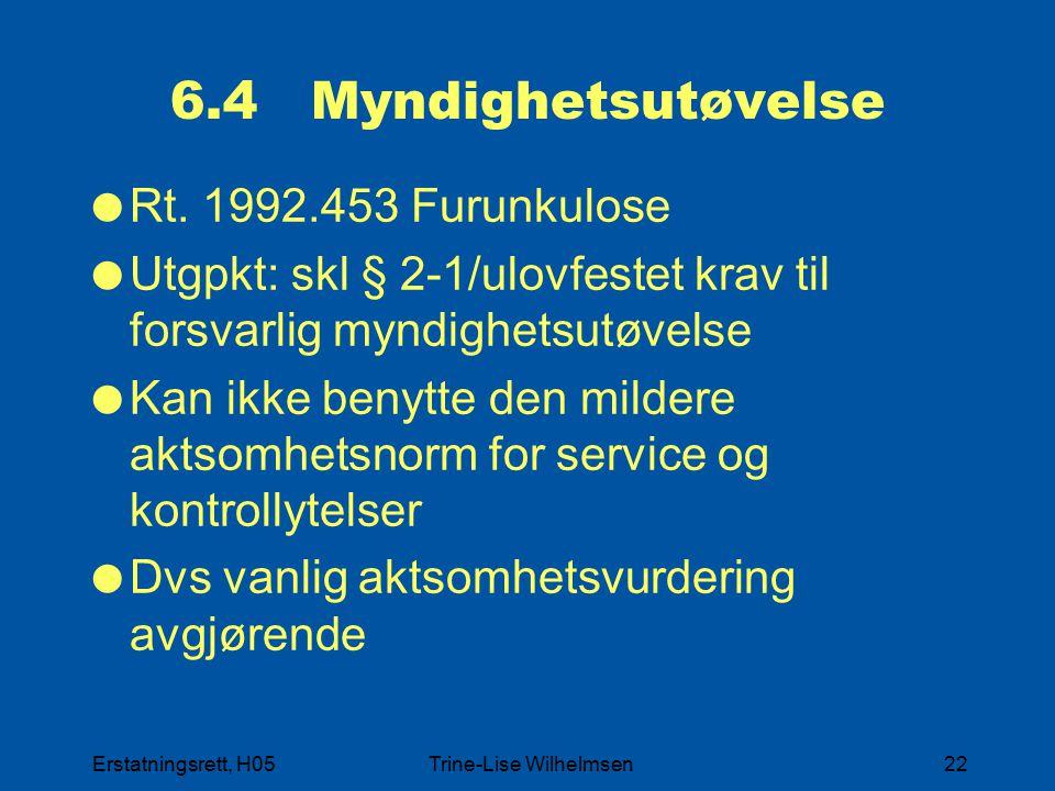Erstatningsrett, H05Trine-Lise Wilhelmsen22 6.4 Myndighetsutøvelse  Rt. 1992.453 Furunkulose  Utgpkt: skl § 2-1/ulovfestet krav til forsvarlig myndi