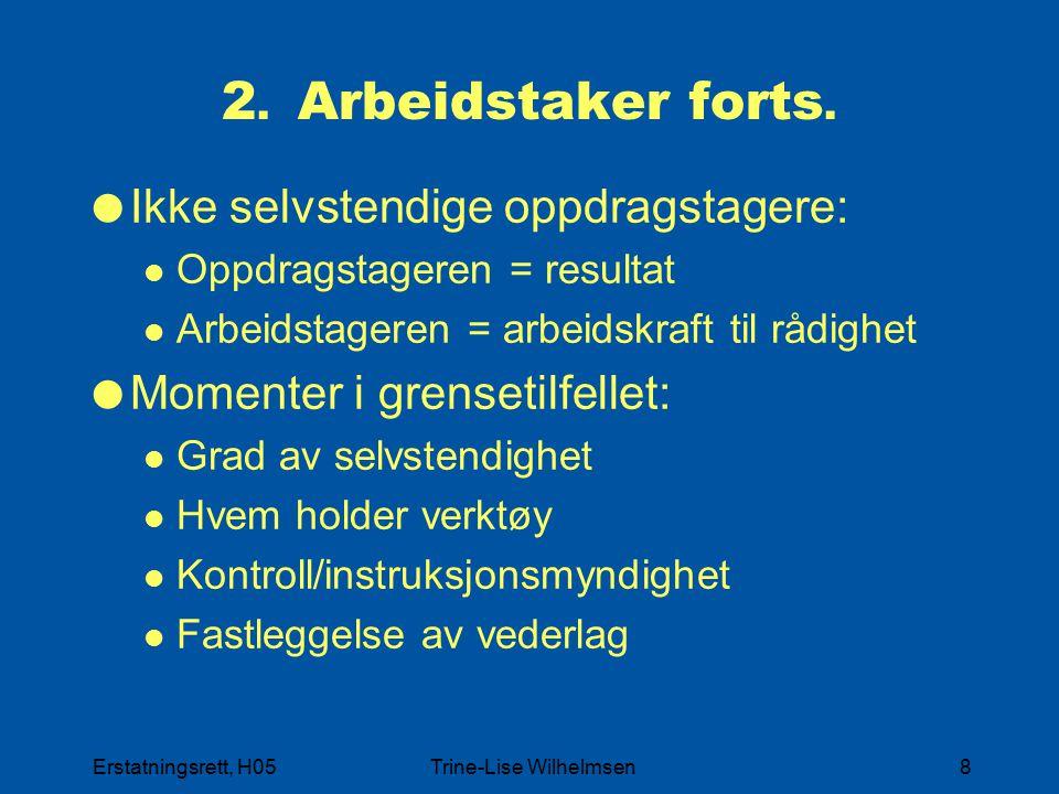 Erstatningsrett, H05Trine-Lise Wilhelmsen8 2. Arbeidstaker forts.  Ikke selvstendige oppdragstagere: Oppdragstageren = resultat Arbeidstageren = arbe