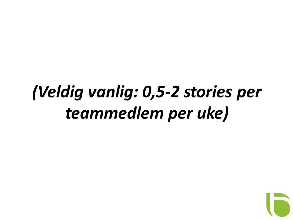 (Veldig vanlig: 0,5-2 stories per teammedlem per uke)