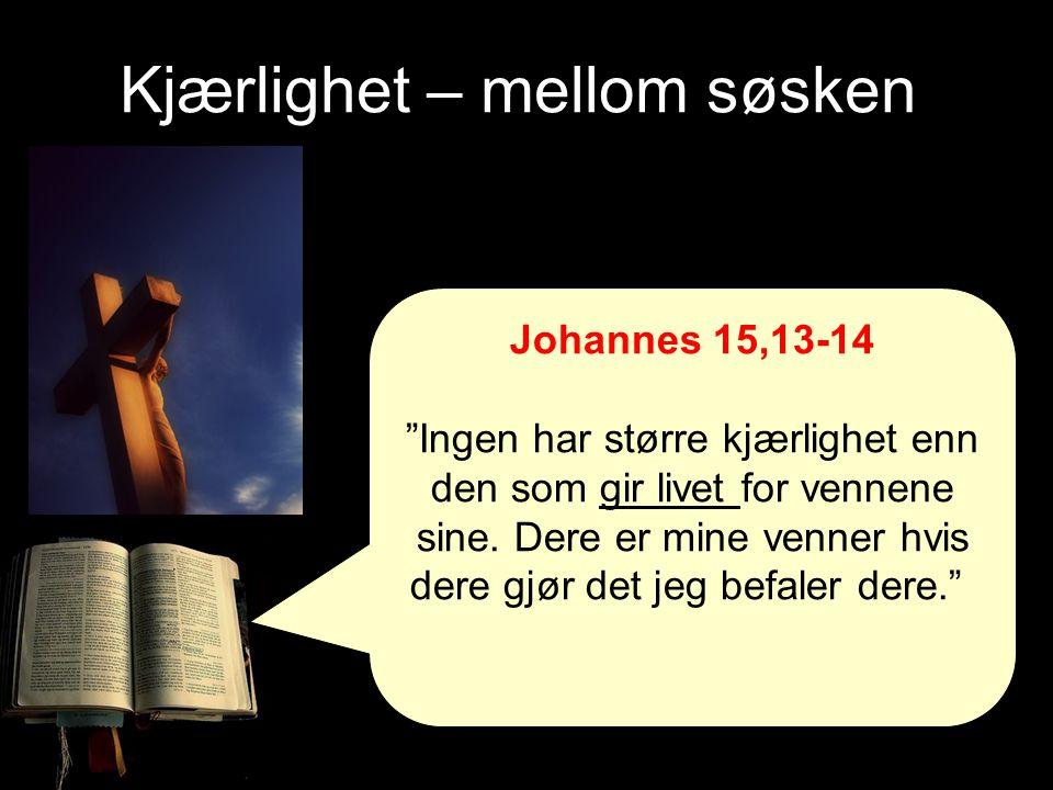"""Kjærlighet – mellom søsken Johannes 15,13-14 """"Ingen har større kjærlighet enn den som gir livet for vennene sine. Dere er mine venner hvis dere gjør d"""