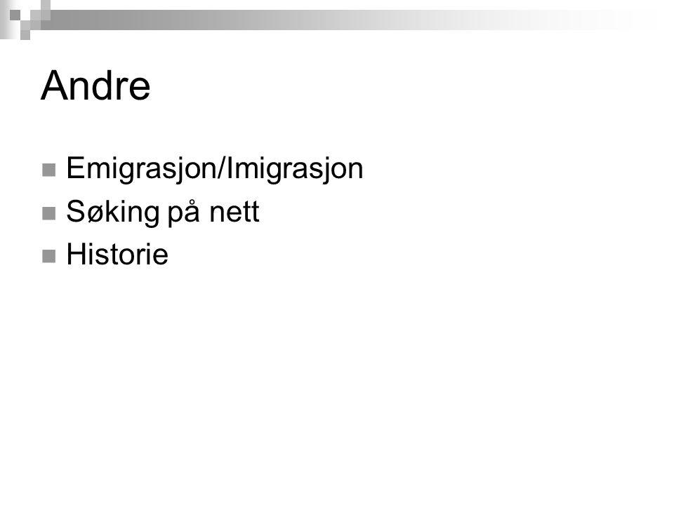 Andre Emigrasjon/Imigrasjon Søking på nett Historie