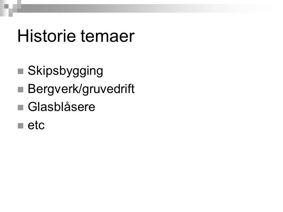 Historie temaer Skipsbygging Bergverk/gruvedrift Glasblåsere etc