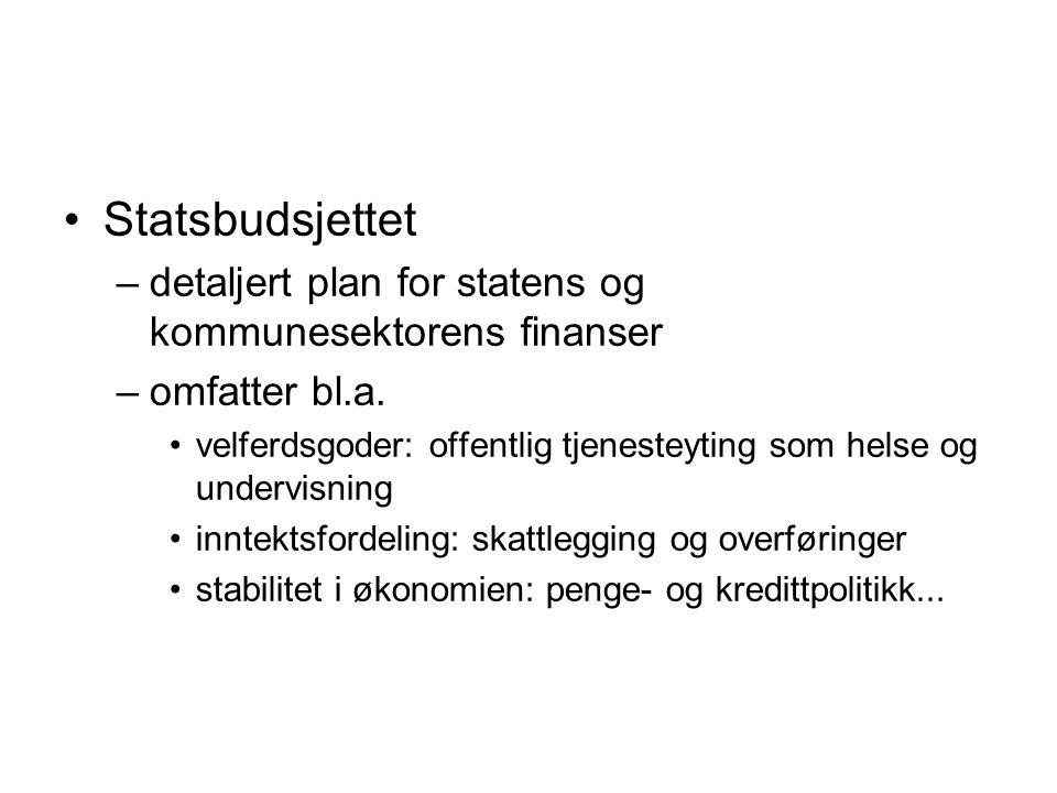 Statsbudsjettet –detaljert plan for statens og kommunesektorens finanser –omfatter bl.a.