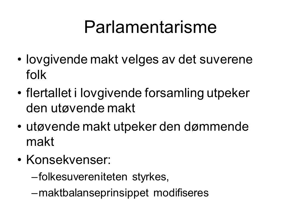 Parlamentarisme lovgivende makt velges av det suverene folk flertallet i lovgivende forsamling utpeker den utøvende makt utøvende makt utpeker den dømmende makt Konsekvenser: –folkesuvereniteten styrkes, –maktbalanseprinsippet modifiseres
