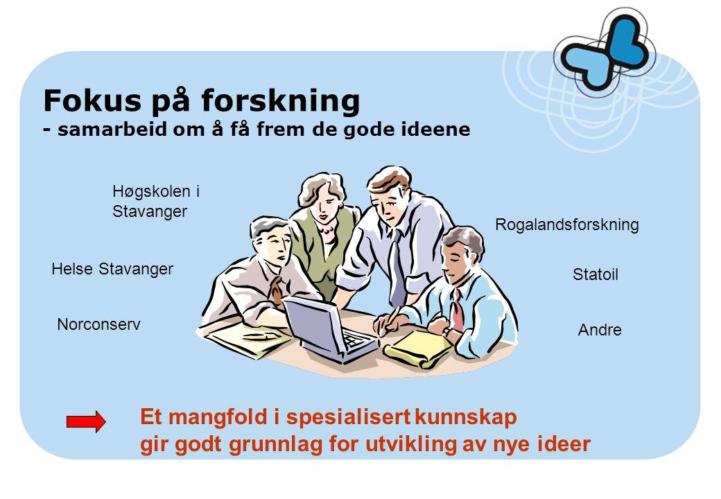 Fokus på forskning - samarbeid om å få frem de gode ideene Høgskolen i Stavanger Rogalandsforskning Helse Stavanger Norconserv Statoil Andre Et mangfo