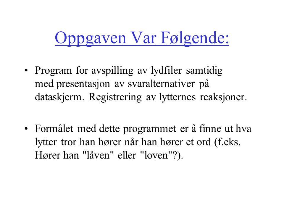 Oppgaven Var Følgende: Program for avspilling av lydfiler samtidig med presentasjon av svaralternativer på dataskjerm.