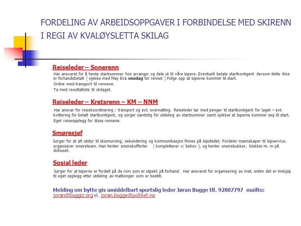 DETTE ER DE RENN SOM SPORTSLIG UTVALG HAR PLUKKET UT FOR SESONGEN 2009 - 2010 LØRDAG OG SØNDAG 28– 29.11.09 – NORDREISA Fra 15 år – 28.