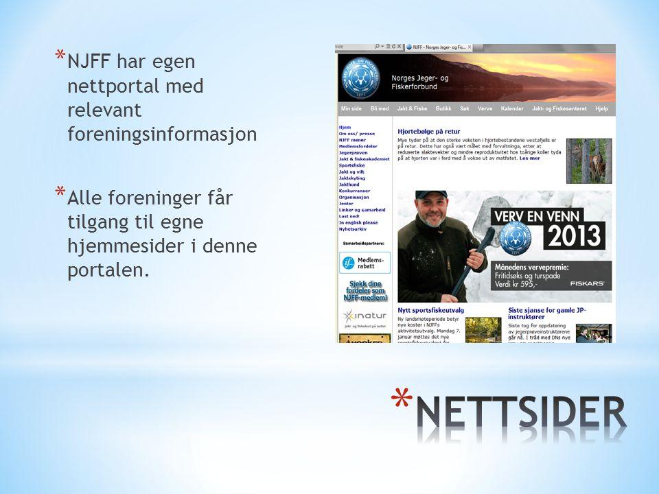* NJFF har egen nettportal med relevant foreningsinformasjon * Alle foreninger får tilgang til egne hjemmesider i denne portalen.