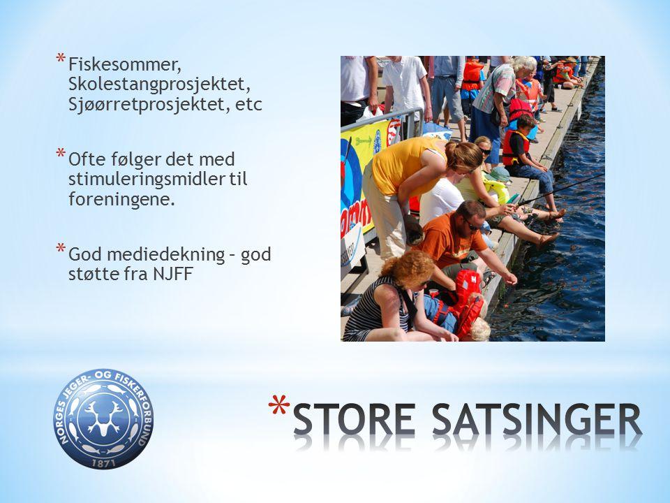 * Fiskesommer, Skolestangprosjektet, Sjøørretprosjektet, etc * Ofte følger det med stimuleringsmidler til foreningene. * God mediedekning – god støtte