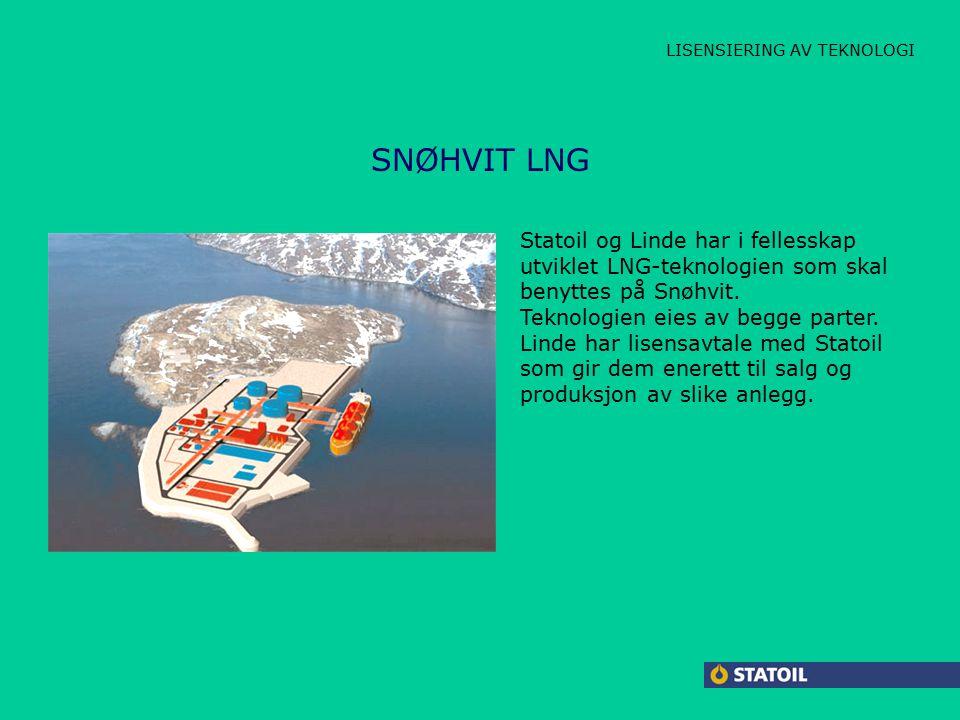 CARBOLINE LAMBDA JACKET HPAP SNØHVIT LNG LISENSIERING AV TEKNOLOGI Statoil og Linde har i fellesskap utviklet LNG-teknologien som skal benyttes på Snøhvit.