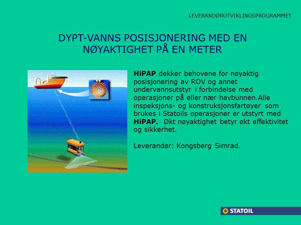 CARBOLINE LAMBDA JACKET HPAP DYPT-VANNS POSISJONERING MED EN NØYAKTIGHET PÅ EN METER HiPAP dekker behovene for nøyaktig posisjonering av ROV og annet undervannsutstyr i forbindelse med operasjoner på eller nær havbunnen.Alle inspeksjons- og konstruksjonsfartøyer som brukes i Statoils operasjoner er utstyrt med HiPAP.
